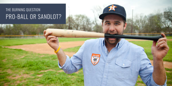 Aaron Ross of Texas Playboys poses with a bat while wearing an embroidered Criquet button down.